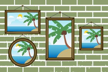Day summer beach frames on a wall