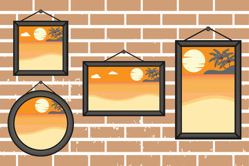 Afternoon summer beach frames on a wall