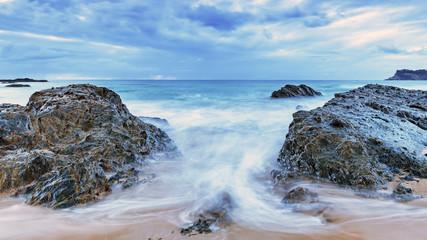 Rocky Overcast Dawn Seascape