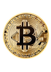 Bitcoin. Physical bit coin. Cryptocurrency.