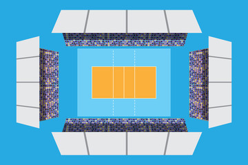 volleyball stadium with full attendance in top view