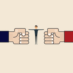 Competition,Mediation or Referee concept.Businessman and blue,red corner sign.Mediator assists disputing parties.Resolving conflict or dispute resolution.Referee between two businessmen.