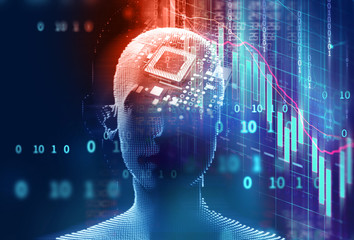 3d illustration of virtual human on technology background.