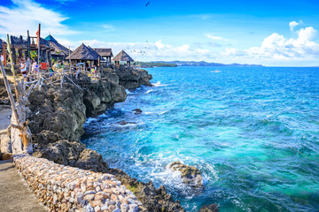 View of Crystal Cove, which is a small island that attracts tourists island hopping near Boracay in the Philippines