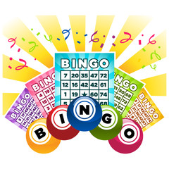Illustration of bingo game cards and balls