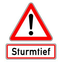 ncsc4 NewCombinationSignCaution ncsc - Achtung Ausrufezeichen Unwetterwarnung / dreieckig - Wetterkennzeichnung mit Text: Sturmtief - quadrat xxl schwarz rot - g5783