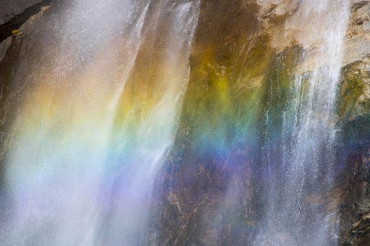 Close Up Rainbow in Waterfall in Yosemite National Park California
