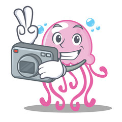 Photographer cute jellyfish character cartoon