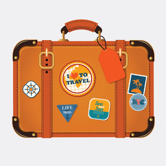 Vector illustration of retro travel suitcase