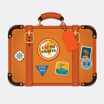 Vector illustration of retro travel suitcase