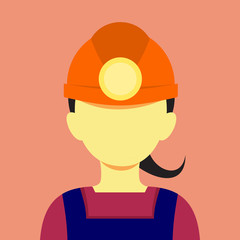 Female Miner Flat Style Mining Vector Illustration Graphic