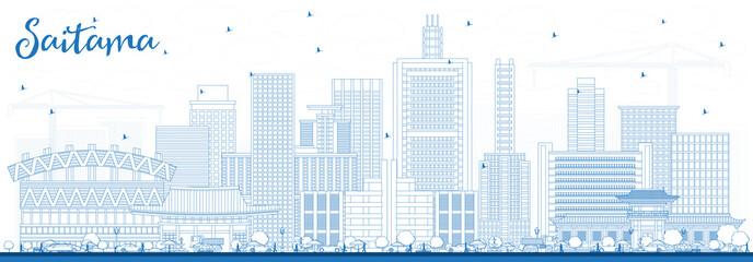 Outline Saitama Japan City Skyline with Blue Buildings.