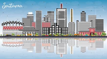 Saitama Japan City Skyline with Color Buildings, Blue Sky and Reflections.