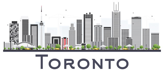 Toronto Canada City Skyline with Color Buildings Isolated on White Background.