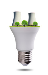 LED light bulb with nuclear power plant isolated on white background. Energy concept.