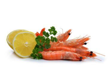 Close up of fresh shrimps with slices of lemons isolated on white background.
