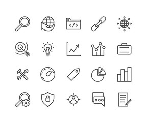 Simple Set of SEO Related Vector Icons. Contains such icons as target audience, tag, idea, statistics, optimisation and more. Modern vector pictogram collection. Editable Stroke. 48x48 Pixel Perfect.