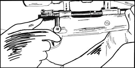 Scharfschütze oder Jäger am Abzug