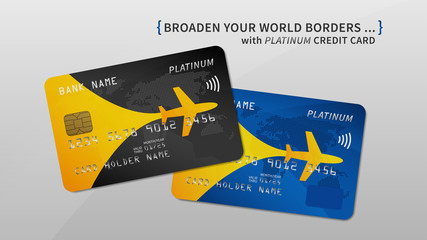 Air rewards bank card vector illustration. Bank credit (debit) card with air miles promotion creative concept. Plastic credit card with bonuses for frequent air travel graphic design.