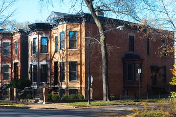 Brick duplex buildings on a Chicago street