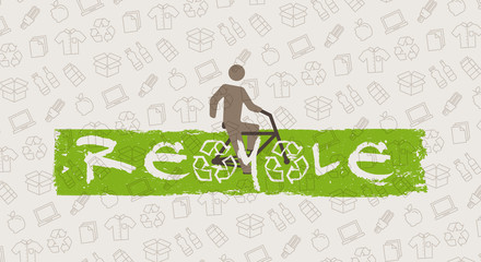 ReCycle vector illustration. Man with bicycle and recycle signs graphic design. Recyclable things (cardboard box, bottles, food, paper, packaging) line art pattern on the background.