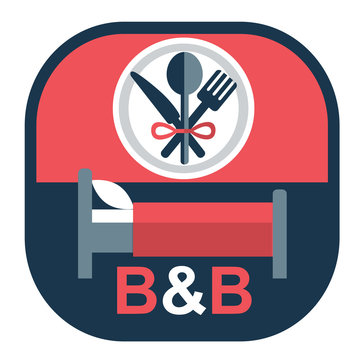 vector flat emblem for bed and breakfast business