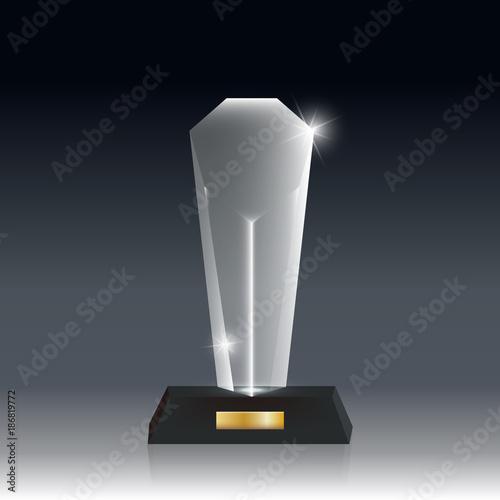 Realistic Blank Vector Acrylic Glass Trophy Award dark gray