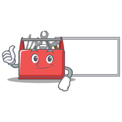Thumbs up with board tool box character cartoon