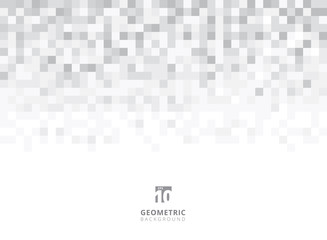 Abstract squares geometric gray and white background with copy space. Pixel, Grid, Mosaic. Wall mural