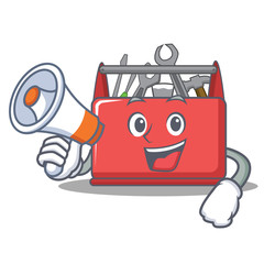 With megaphone tool box character cartoon