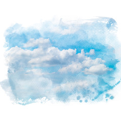 Blue sky with white cloud. Artistic natural abstract background. Watercolor painting (retouch).