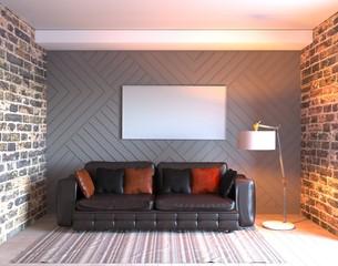 3d rendering of black leather sofa in loft interior