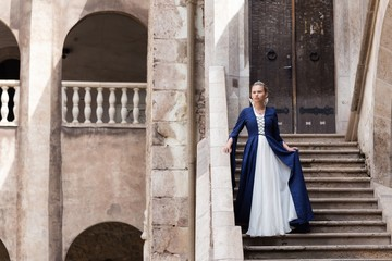 princess balcony medieval dress ancient young blue dress castle stairs