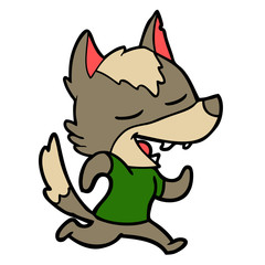 cartoon running wolf laughing