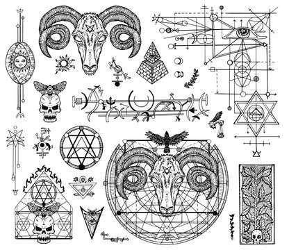 Design set with graphic drawings of mystic and religions and devil symbols. Freemasonry and secret societies emblems, occult and spiritual mystic drawings. Tattoo design, new world order.
