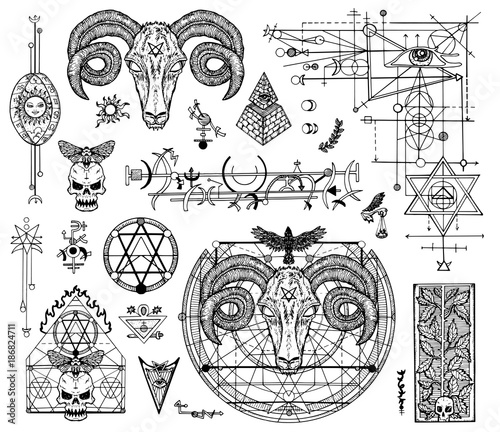 Design Set With Graphic Drawings Of Mystic And Religions And Devil