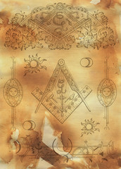 Scrapbook design background with mason and mystic symbols on texture. Freemasonry and secret societies emblems, occult and spiritual mystic drawings. Tattoo design, new world order.