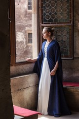 princess balcony medieval dress ancient young blue dress castle window fairytale