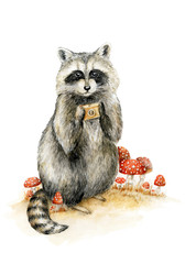 hand painted watercolor raccoon with photo camera isolated on white. Cartoon looking Raccoon Photographer