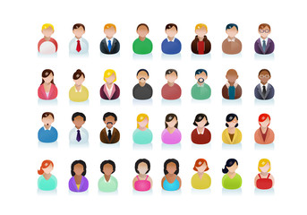 various ethnic business people avatar icons