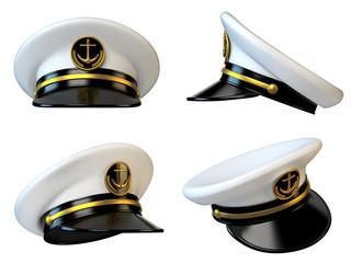 Navy cap, ship officer, admiral, sailor, naval captain hat various views 3d rendering