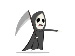 Grim reaper with scythe in flat style, vector