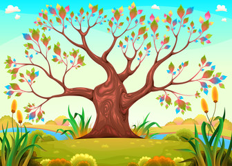 Printed kitchen splashbacks kids room Happy tree in the countryside