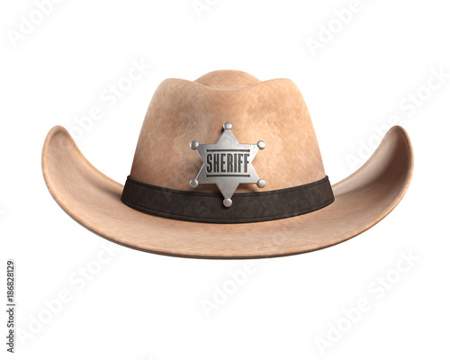 4d9c47926 Sheriff hat isolated on white background 3d rendering