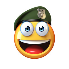 Emoji army solider isolated on white background, military emoticon wearing beret  3d rendering