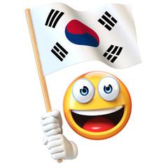Emoji holding South Korean flag, emoticon waving national flag of South Korea 3d rendering