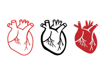 Set of human heart icons in linear style, vector