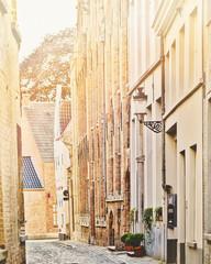 medieval street in Bruges, Belgium