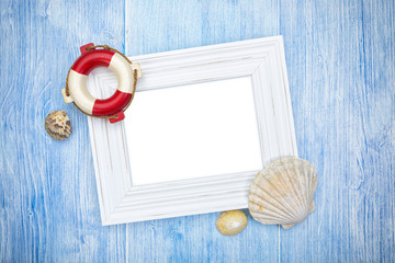 Maritime background with copy space in blank white picture frame