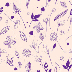 Summer nature flowers, leaves, berries, butterflies. Seamless abstract background